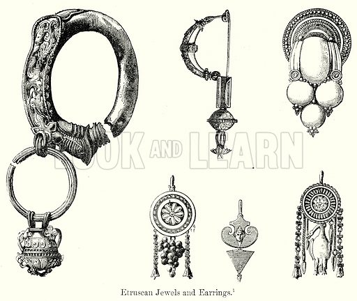 Etruscan Jewels and Earrings. Illustration from History of Rome by Victor Duruy (Kegan Paul, Trench & Co, 1884).