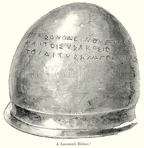 A Lucumon's Helmet. Illustration from History of Rome by Victor Duruy (Kegan Paul, Trench & Co, 1884).