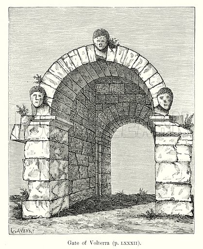 Gate of Volterra. Illustration from History of Rome by Victor Duruy (Kegan Paul, Trench & Co, 1884).