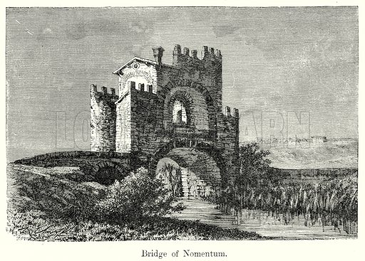 Bridge of Nomentum. Illustration from History of Rome by Victor Duruy (Kegan Paul, Trench & Co, 1884).