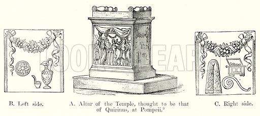 A Altar of the Temple, thought to be that of Quirinus, at Pompeii. B Left side. C Right side. Illustration from History of Rome by Victor Duruy (Kegan Paul, Trench & Co, 1884).