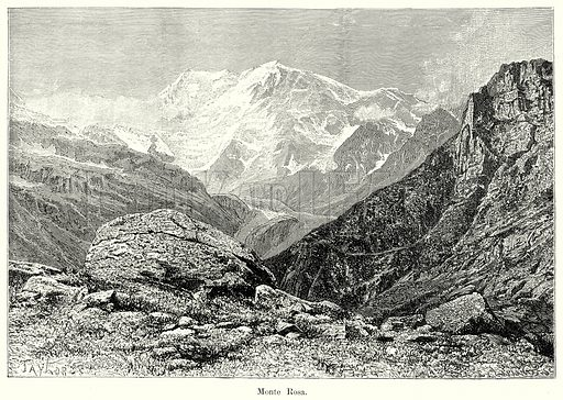 Monte Rosa. Illustration from History of Rome by Victor Duruy (Kegan Paul, Trench & Co, 1884).