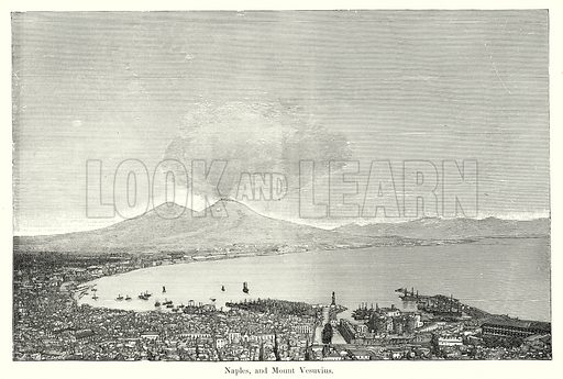 Naples, and Mount Vesuvius. Illustration from History of Rome by Victor Duruy (Kegan Paul, Trench & Co, 1884).
