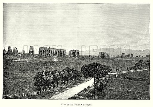View of the Roman Campagna. Illustration from History of Rome by Victor Duruy (Kegan Paul, Trench & Co, 1884).