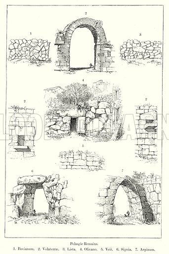 Pelasgic Remains. 1. Bovianum. 2. Volaterrae. 3. Lista. 4. Olivano. 5. Veii. 6. Signia. 7. Arpinum. Illustration from History of Rome by Victor Duruy (Kegan Paul, Trench & Co, 1884).