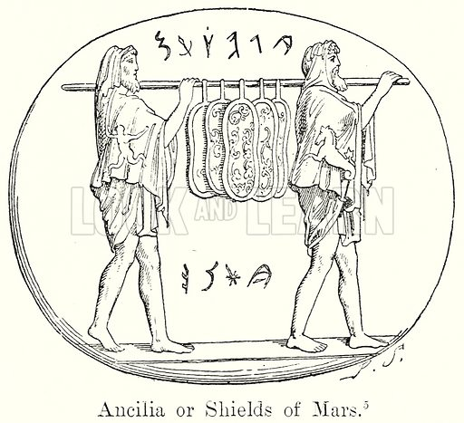 Ancilia or Shields of Mars. Illustration from History of Rome by Victor Duruy (Kegan Paul, Trench & Co, 1884).