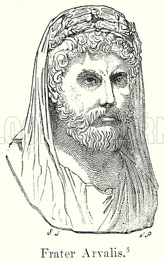 Frater Arvalis. Illustration from History of Rome by Victor Duruy (Kegan Paul, Trench & Co, 1884).