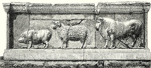 Animals being led to the sacrifice of the Suovetaurile. (Bas-Relief found near the Column of Phocas.) Illustration from History of Rome by Victor Duruy (Kegan Paul, Trench & Co, 1884).