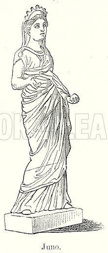 Juno. Illustration from History of Rome by Victor Duruy (Kegan Paul, Trench & Co, 1884).