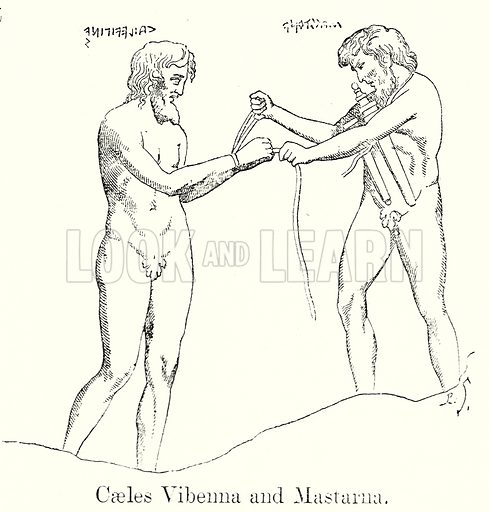 Caeles Vibenna and Mastarna. Illustration from History of Rome by Victor Duruy (Kegan Paul, Trench & Co, 1884).