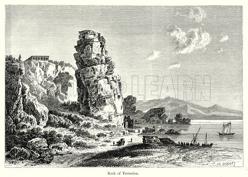 Rock of Terracina. Illustration from History of Rome by Victor Duruy (Kegan Paul, Trench & Co, 1884).