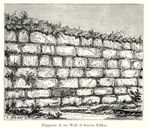 Fragment of the Wall of Servius Tullius. Illustration from History of Rome by Victor Duruy (Kegan Paul, Trench & Co, 1884).