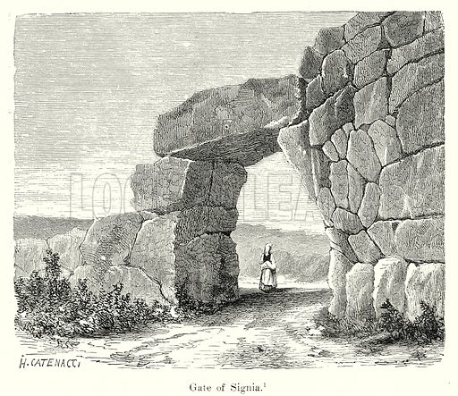 Gate of Signia. Illustration from History of Rome by Victor Duruy (Kegan Paul, Trench & Co, 1884).
