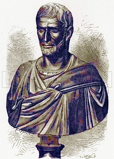 Brutus (Bust in the Capitol). Illustration from History of Rome by Victor Duruy (Kegan Paul, Trench & Co, 1884).