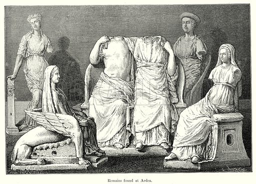 Remains found at Ardea. Illustration from History of Rome by Victor Duruy (Kegan Paul, Trench & Co, 1884).