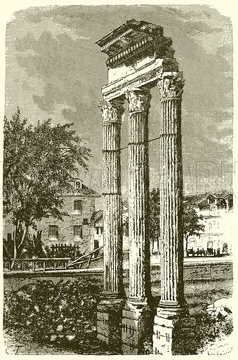 The Three Columns of the Temple of Castor. Illustration from History of Rome by Victor Duruy (Kegan Paul, Trench & Co, 1884).