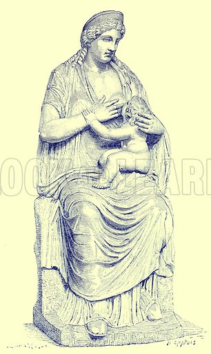 Juno nursing Hercules (Statue in the Vatican). Illustration from History of Rome by Victor Duruy (Kegan Paul, Trench & Co, 1884).