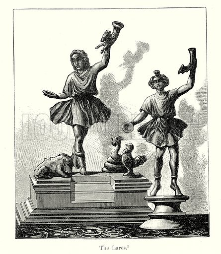 The Lares. Illustration from History of Rome by Victor Duruy (Kegan Paul, Trench & Co, 1884).