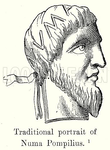 Traditional portrait of Numa Pompilius. Illustration from History of Rome by Victor Duruy (Kegan Paul, Trench & Co, 1884).