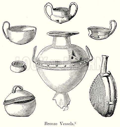 Bronze Vessels. Illustration from History of Rome by Victor Duruy (Kegan Paul, Trench & Co, 1884).