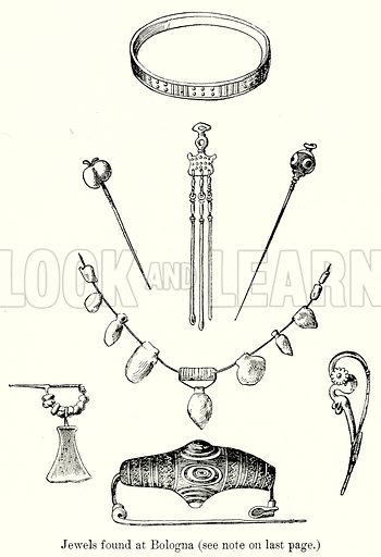 Jewels found at Bologna. Illustration from History of Rome by Victor Duruy (Kegan Paul, Trench & Co, 1884).