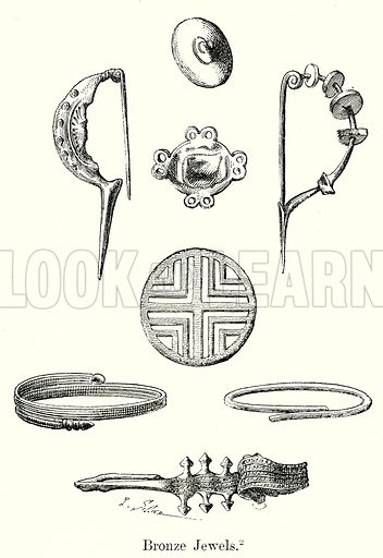 Bronze Jewels. Illustration from History of Rome by Victor Duruy (Kegan Paul, Trench & Co, 1884).