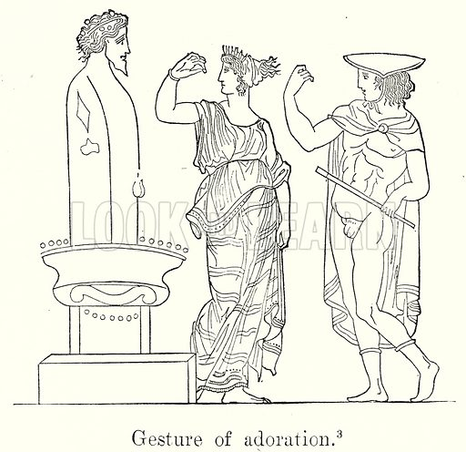 Gesture of Adoration. Illustration from History of Rome by Victor Duruy (Kegan Paul, Trench & Co, 1884).