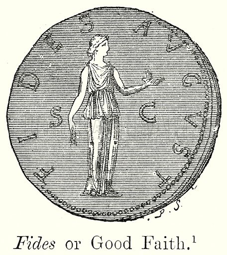 Fides or Good Faith. Illustration from History of Rome by Victor Duruy (Kegan Paul, Trench & Co, 1884).