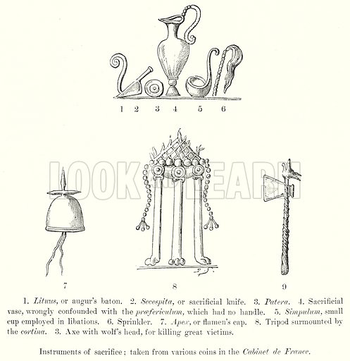 Instruments of Sacrifice; Taken from Various Coins in the Cabinet de France. 1. Lituus, or Augur