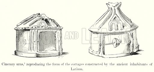 Cinerary Urns, reproducing the form the cottages constructed by the Ancient inhabitants of Latium. Illustration from History of Rome by Victor Duruy (Kegan Paul, Trench & Co, 1884).
