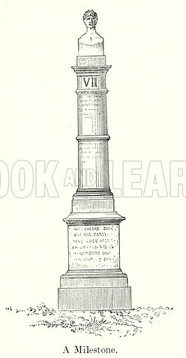A Milestone. Illustration from History of Rome by Victor Duruy (Kegan Paul, Trench & Co, 1884).