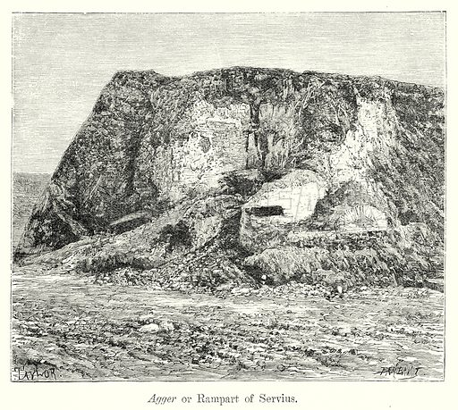 Agger or Rampart of Servius. Illustration from History of Rome by Victor Duruy (Kegan Paul, Trench & Co, 1884).