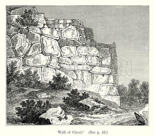 Wall of Circei. Illustration from History of Rome by Victor Duruy (Kegan Paul, Trench & Co, 1884).