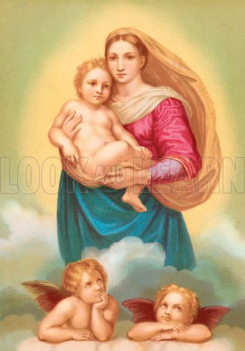 The Sistine Madonna. Illustration from Woman in Sacred HIstory by Harriet Beecher Stowe (Sampson Low, 1874).