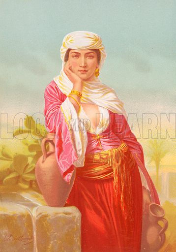 The Woman of Samaria.  Illustration from Woman in Sacred HIstory by Harriet Beecher Stowe (Sampson Low, 1874).
