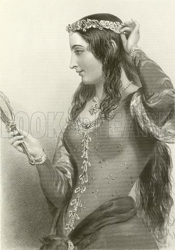 Eleanor of Provence, queen of king Henry III. Illustration from The Queens of England or Royal Book of Beauty edited by Mary Howitt (Virtue & Co, c 1875).