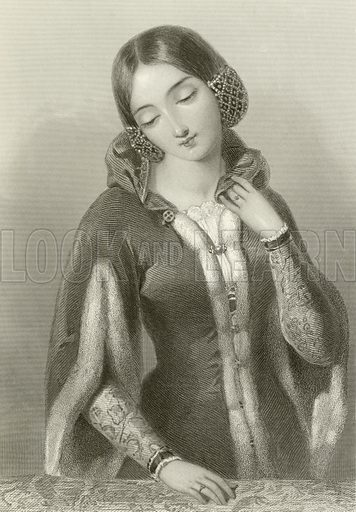Anne of Bohemia, queen of king Richard II. Illustration from The Queens of England or Royal Book of Beauty edited by Mary Howitt (Virtue & Co, c 1875).