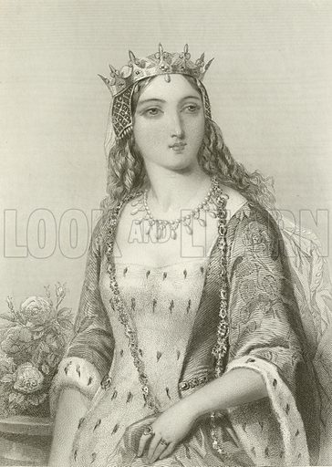 Margaret of Anjou, queen of king Henry VI. Illustration from The Queens of England or Royal Book of Beauty edited by Mary Howitt (Virtue & Co, c 1875).