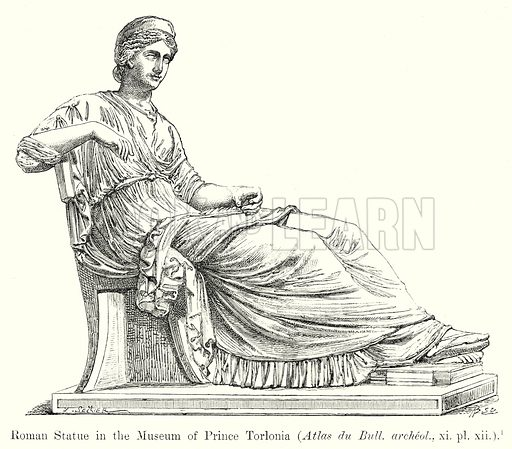 Roman Statue in the Museum of Prince Torlonia. (Atlas du Bull. archeol., xi. pl. xii.). Illustration from History of Rome by Victor Duruy (Kegan Paul, Trench & Co, 1884).