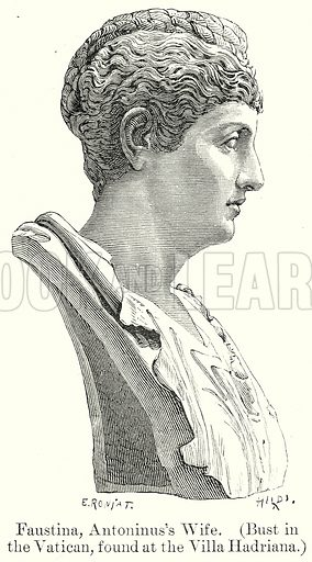 Faustina, Antoninus's Wife. (Bust in the Vatican, found at the Villa Hadriana.) Illustration from History of Rome by Victor Duruy (Kegan Paul, Trench & Co, 1884).