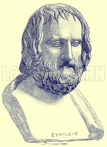 Euripides. Illustration from History of Rome by Victor Duruy (Kegan Paul, Trench & Co, 1884).