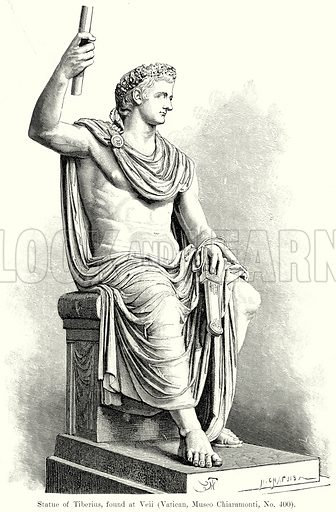 Statue of Tiberius, found at Veii (Vatican, Museo Chiaramonti, No. 400). Illustration from History of Rome by Victor Duruy (Kegan Paul, Trench & Co, 1884).