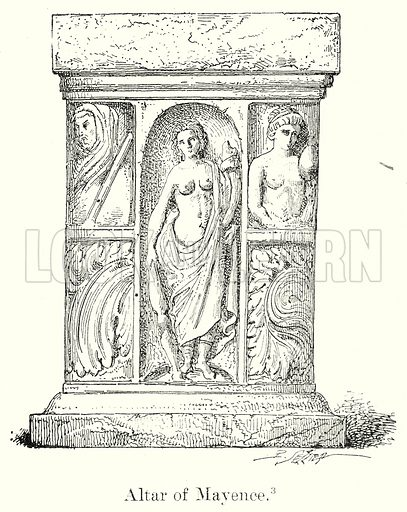 Altar of Mayence. Illustration from History of Rome by Victor Duruy (Kegan Paul, Trench & Co, 1884).