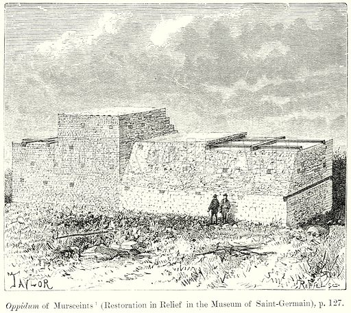 Oppidum of Mursceints (Restoration in Relief in the Museum of Saint-Germain). Illustration from History of Rome by Victor Duruy (Kegan Paul, Trench & Co, 1884).