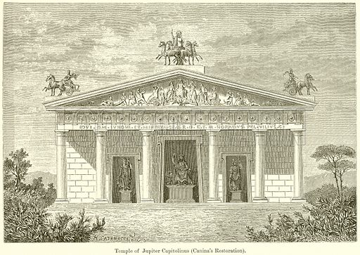 Temple of Jupiter Capitolinus (Canina's Restoration). Illustration from History of Rome by Victor Duruy (Kegan Paul, Trench & Co, 1884).