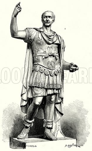 Julius Caesar. Illustration from History of Rome by Victor Duruy (Kegan Paul, Trench & Co, 1884).