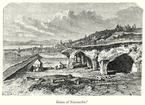 Ruins of Nicomedia. Illustration from History of Rome by Victor Duruy (Kegan Paul, Trench & Co, 1884).