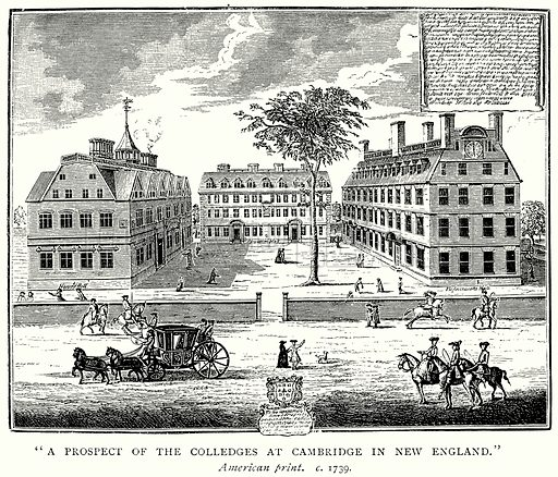 "``A Prospect of the Colledges at Cambridge in New England."" Illustration from A Short History of the English People by JR Green (Macmillan, 1892)."