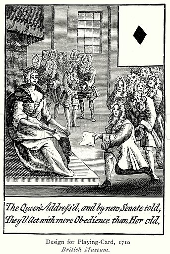 Design for Playing-Card, 1710. Illustration from A Short History of the English People by J R Green (Macmillan, 1892).