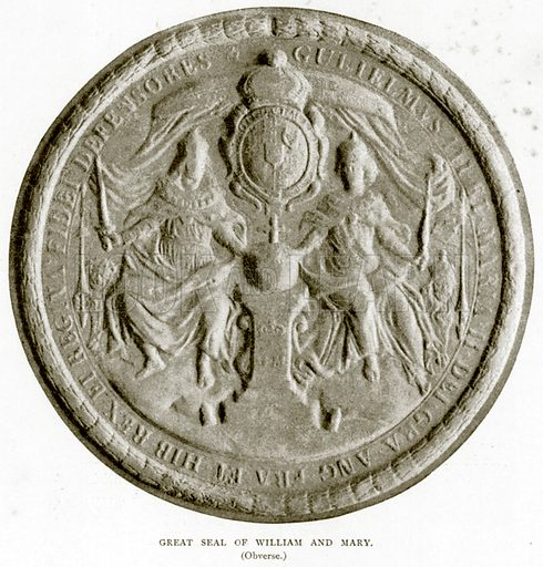 Great Seal of William and Mary. (Obverse.) Illustration from A Short History of the English People by J R Green (Macmillan, 1892).